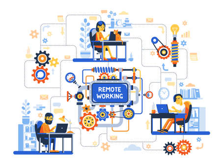 Remote work of the development team on complex project. Online creative teamwork in home offices. Vector illustration. Illustration
