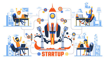 Startup rocket launch creative concept. Working remotely developers team rejoicing at the success. Vector illustration.