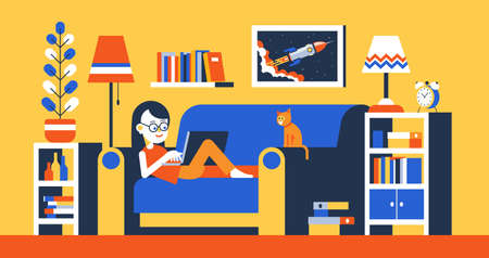 Girl with laptop on sofa in room interior work home Illustration