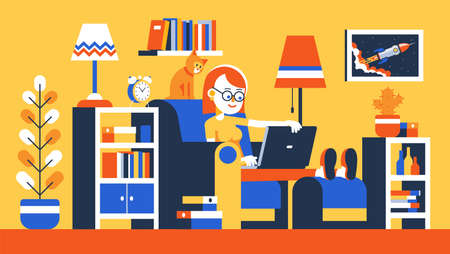 Girl working remotely with laptop on armchair Illustration