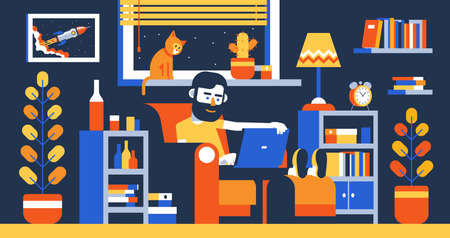 Bearded Man with laptop on armchair work home in room interior Vettoriali