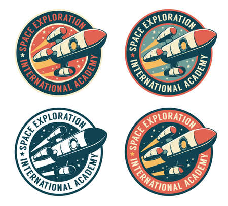 Space badge with flying rocket Фото со стока - 146299990