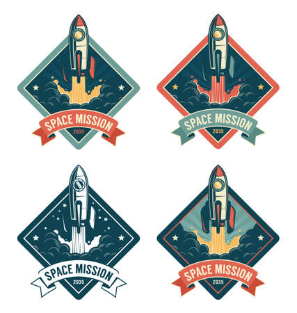 Rocket start in space vintage badge Фото со стока - 146842234