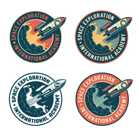 Space rocket vintage badge. Spaceship launch retro emblem Illustration