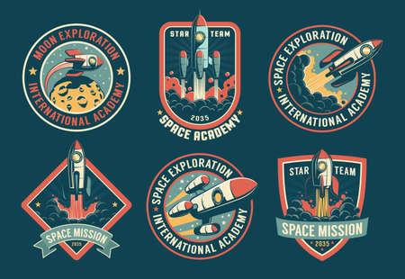 Space vintage badges, emblems and labels set Illusztráció