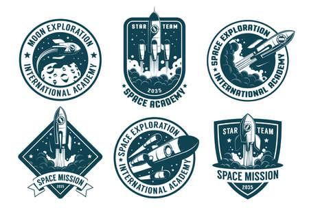 Retro space badges set. Astronaut emblems