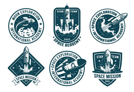 Retro space badges set. Astronaut emblems