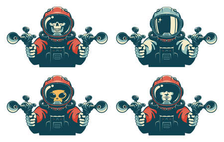 Astronaut with laser gun. Space warrior with blaster