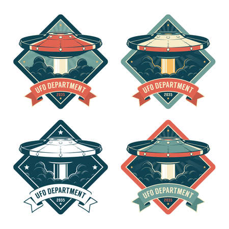 Space badge with flying saucer Illustration