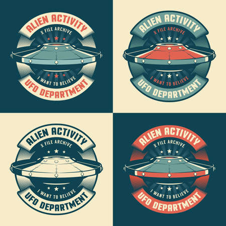 UFO vintage emblem with flying saucer Illustration