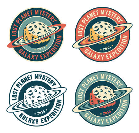 Alien planet - retro space badge Illustration