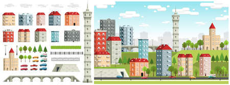 City landscape with building,