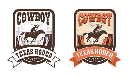Rodeo retro western badge - horseman with lasso
