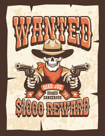 Wanted vintage poster - skull cowboy with guns Фото со стока - 148960411