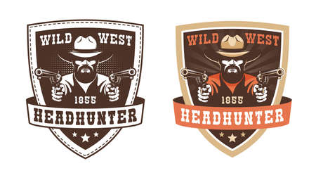 Retro cowboy badge - gunfighter with guns Illustration