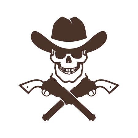 Skull cowboy icon with guns Фото со стока - 148960419