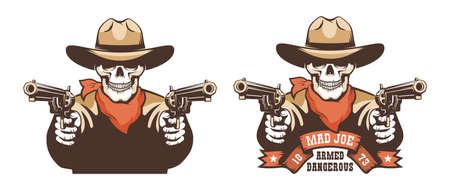 Skull cowboy western bandit with guns Çizim