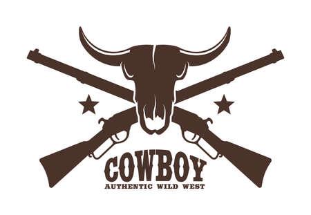 Buffalo Skull with crossed rifles Фото со стока - 148960457