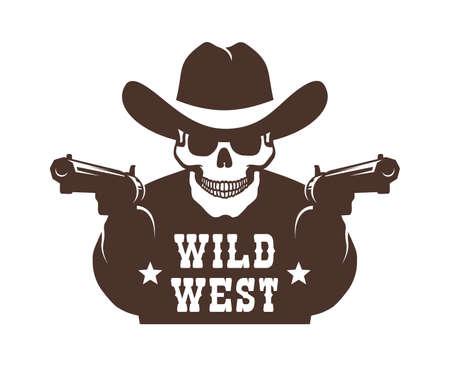 Cowboy skeleton bandit with guns stencil