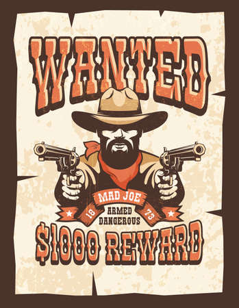 Wanted Bearded cowboy with guns vintage poster Illustration
