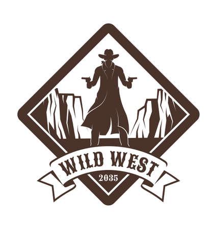 Vintage western emblem - cowboy with guns. Illustration