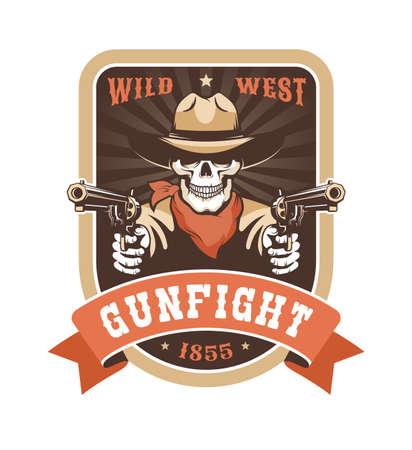 Cowboy skull wild west badge - gunfighter with guns
