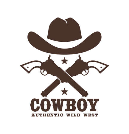 Cowboy icon with hat and crossed guns Фото со стока - 148960603