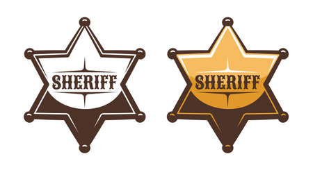 Sheriff star shield retro print style Фото со стока - 148960612