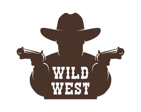 Cowboy bandit with guns stencil Фото со стока - 148960616