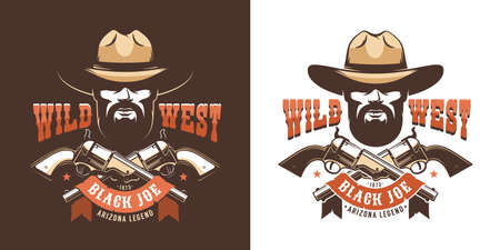 Retro cowboy badge - gunfighter with guns Фото со стока - 148960637