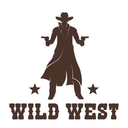 Western Cowboy in a long coat with guns stencil