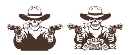 Cowboy Skull wild west gunfighter tattoo Illusztráció