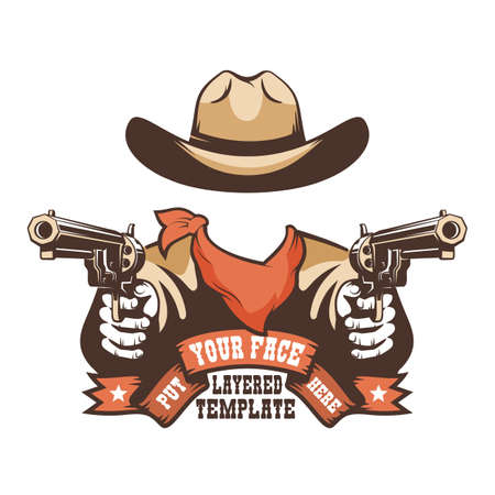 Western cowboy face template Illustration