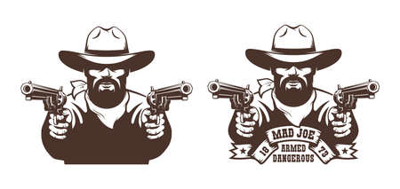Bearded Cowboy wild west gunfighter tattoo Фото со стока - 148960714
