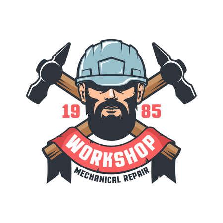 Industrial worker in helmet vintage logo