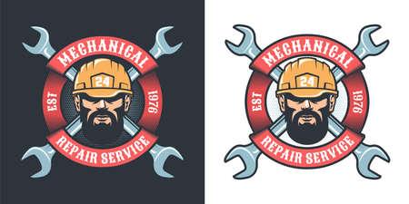 Mechanical repair service with beard man in helmet
