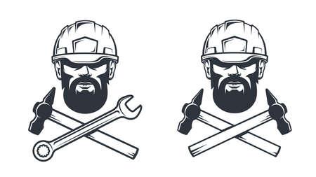 Bearded man in helmet - workshop retro tattoo