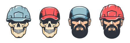 Worker head in helmet - retro style