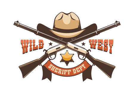 Cowboy hat, sheriff star and crossed rifles - wild west retro logo Ilustrace