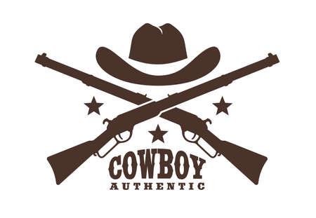 Cowboy hat with crossed rifles - Western retro logo stencil