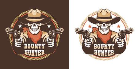 Cowboy skeleton western gunfighter with guns retro badge