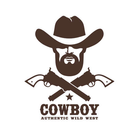 Wild west cowboy stencil retro emblem