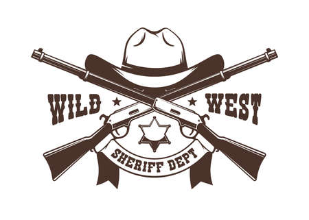Crossed rifles and Cowboy hat with sheriff star - western retro logo