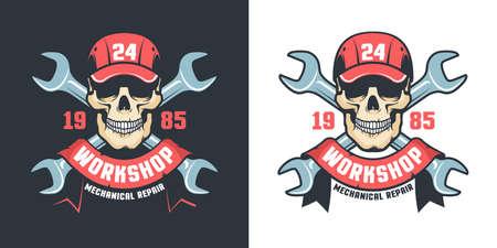Repair car service vintage emblem - skull and adjustable wrench Illusztráció