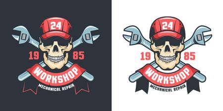 Worker skull Mechanic workshop vintage emblem.