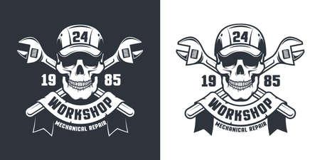 Skull Mechanic Worker - workshop retro emblem Illusztráció
