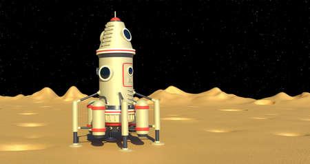 Landing module spaceship on moon surface Stock fotó