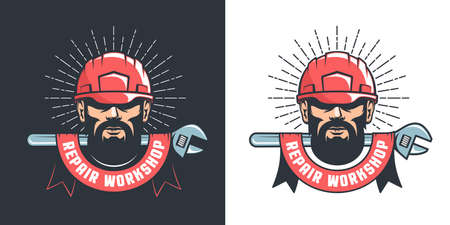 Handyman in hard hat and adjustable wrench logo