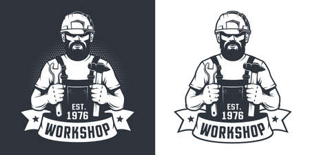 Bearded Worker in hard hat with hammer and wrench -vintage logo Ilustrace