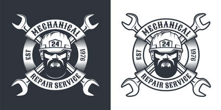 Repair service retro emblem with beard man in hard hat, spanner and ribbon
